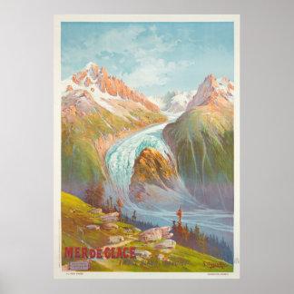 Mer de Glace, Mont Blanc, Savoie Vintage Travel Poster