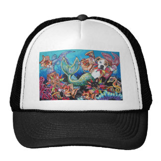 Mer Dogs eating pizza with Cat fish Mesh Hat