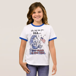 Mer-MAID in the USA girls (ringer) t-shirt