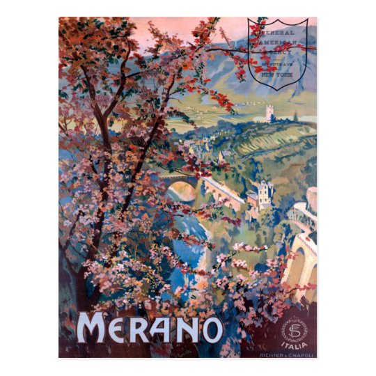 Merano Italy Vintage Italian Travel Poster Postcard