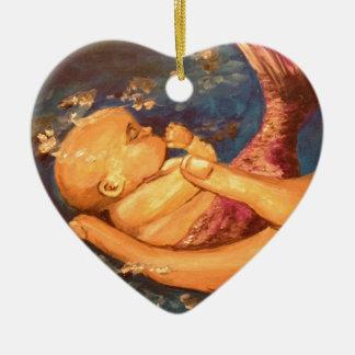 Merbaby at Night Ceramic Heart Decoration