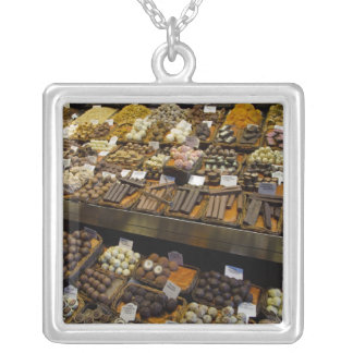 Mercat de Sant Josep, assorted chocolate candy Silver Plated Necklace