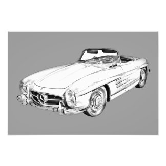 Mercedes Benz 300 SL Convertible Illustration Art Photo