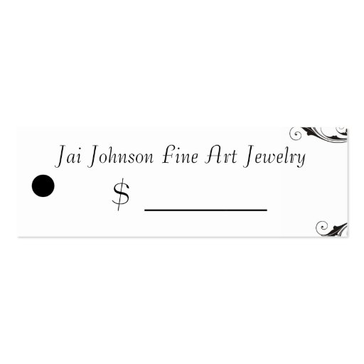 Merchandise Price Tags (Black & White Swirl) Business Card Templates