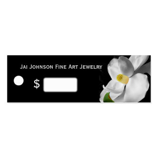 Merchandise Price Tags (Magnolia on Black) Business Card Template