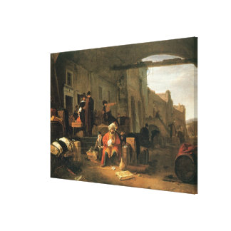 Merchants from Holland and the Middle East trading Canvas Print