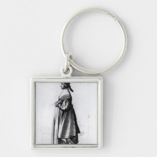 Merchant's Wife, 1640 Silver-Colored Square Key Ring