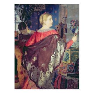 Merchant's woman with a mirror postcard