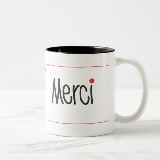 Merci Black and Red Thank you Mug