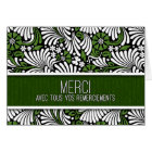 Merci French Thank You Green and White Fern Blank Card