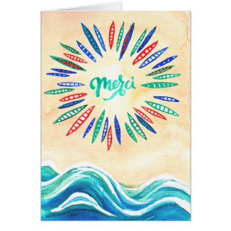 'Merci' thank you card with beach and boats!