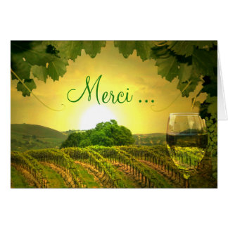 Merci Thank You in French Card Vineyard and Wine