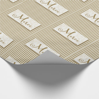Merci Typography with Soft Taupe and Cream Stripes Wrapping Paper