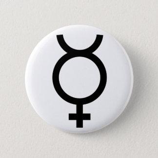 Mercury alchemical symbol 6 cm round badge