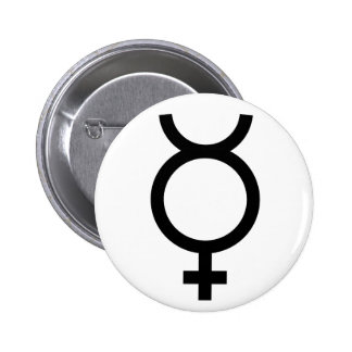 Mercury alchemical symbol 6 cm round badge