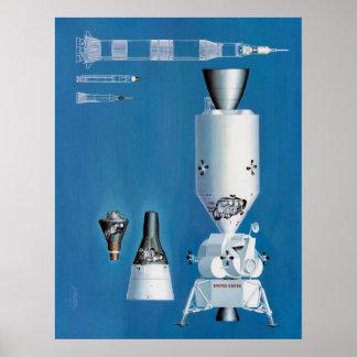 Mercury, Gemini and Apollo Spacecraft Poster