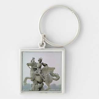 Mercury on Pegasus  1701-02 Silver-Colored Square Key Ring