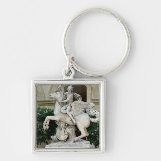 Mercury riding Pegasus Silver-Colored Square Key Ring