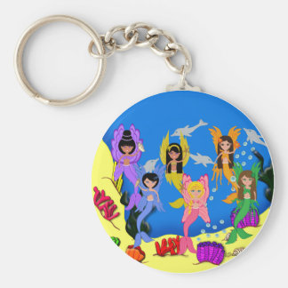 Merfairies in Ocean with Dolphins Keychain