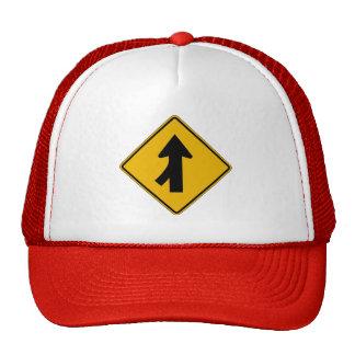 Merge Left, Traffic Warning Sign, USA Cap