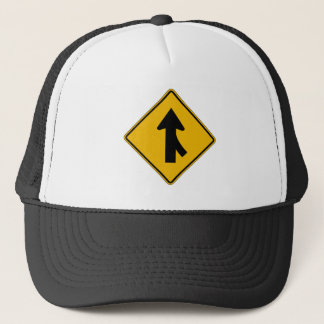 Merge Right, Traffic Warning Sign, USA Trucker Hat