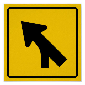 Merging Traffic Highway Sign (Left) Poster