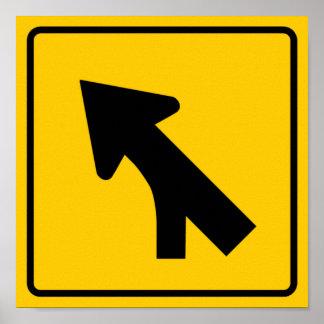 Merging Traffic Highway Sign (Left) Poster