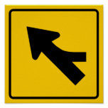 Merging Traffic Highway Sign (Right) Posters