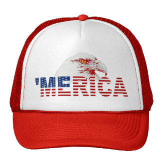 MERICA American Bald Eagle US Flag Hat red