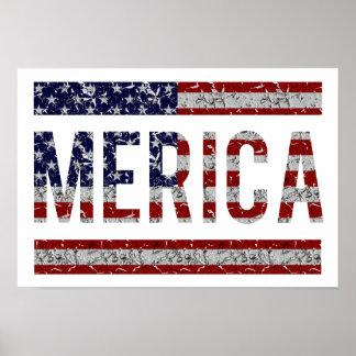 MERICA - American Pride Slang USA Flag Poster
