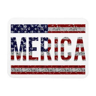 MERICA - American Pride Slang USA Flag Rectangle Magnet