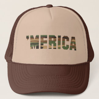 'MERICA Camo Trucker Hat (brown & tan)