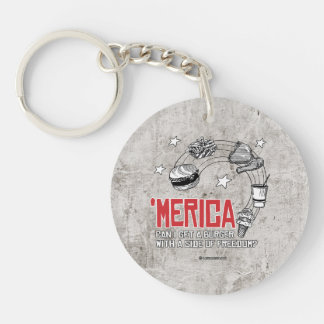 Merica - Can I get a burger with a side of freedom Single-Sided Round Acrylic Key Ring