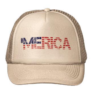 'MERICA Distressed US Flag Mesh Hat Trucker Hat