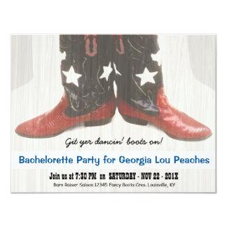 Merica Girl Red White Blue Boots Bachelorette 11 Cm X 14 Cm Invitation Card