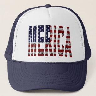 MERICA - Grunge USA Flag Trucker Hat.   7e71843345b2