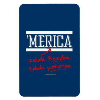 Merica - Inhale freedom Exhale Patriotism Rectangular Photo Magnet