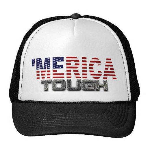 'MERICA TOUGH US Flag Black Snap Back Trucker Hat