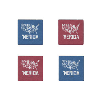 Merica - United States of Money Stone Magnet
