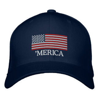 'MERICA US Flag Embroidered Hat