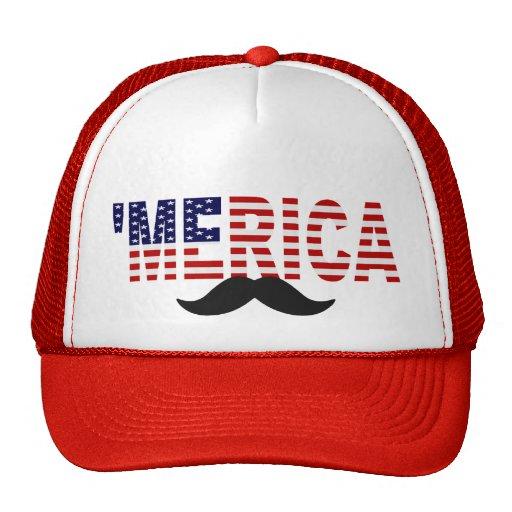 'MERICA US Flag Mustache Hat (red)