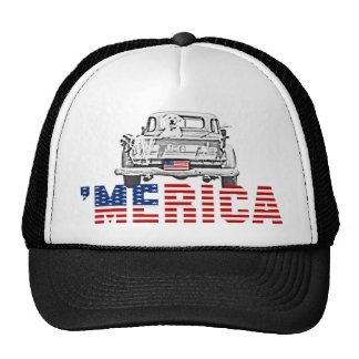 'MERICA US Flag Pickup Truck & Yellow Lab Dog Hat