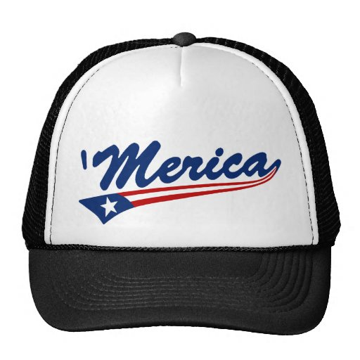 'Merica US Flag Swoosh Trucker Hat (black)
