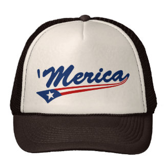 'Merica US Flag Swoosh Trucker Hat (brown/tan)