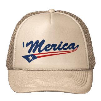 'Merica US Flag Swoosh Trucker Hat (khaki)