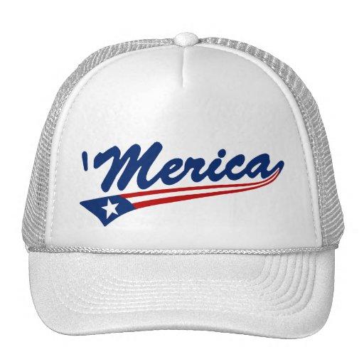'Merica US Flag Swoosh Trucker Hat (white)