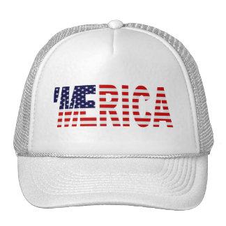 'MERICA US Flag Trucker Hat (white)