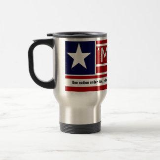 MERICA - USA Flag Shape Customizeable Text Coffee Mugs