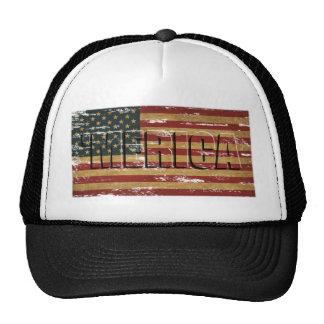 'MERICA Vintage US Flag Trucker Hat