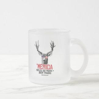 'Merican Deer - Rifles Six packs and deer tracks Frosted Glass Mug